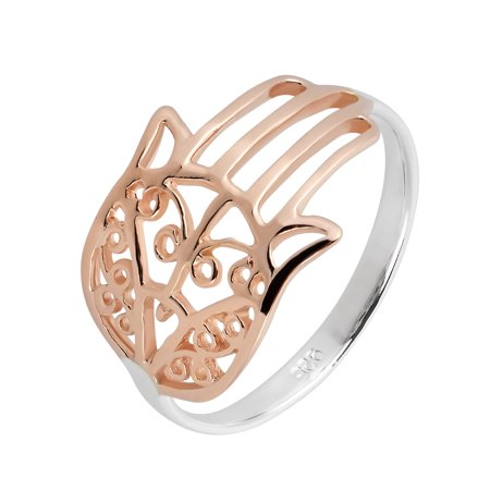 Hamsa Hand Of Protection Rose Gold Vermeil over Sterling Silver