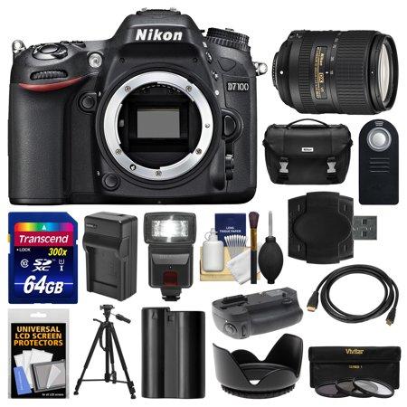Nikon D7100 Digital Slr Camera Body With 18 300Mm Vr Lens   64Gb Card   Case   Flash   Battery Charger   Grip   Tripod Kit