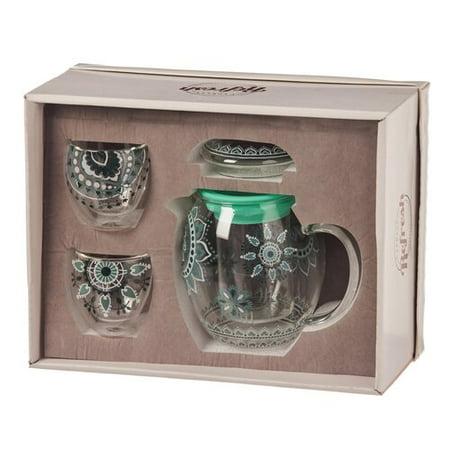 Refresh by Evergreen Tea Lace 0.84 qt. 3 Piece Glass Teapot Set
