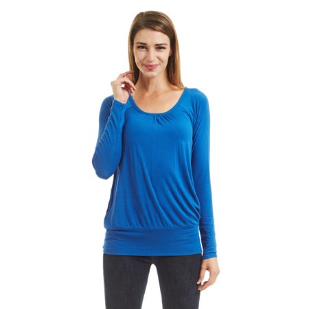 WT1473 Womens Scoop Neck Long Sleeve Front Pleated Top M ROYAL_BRITE