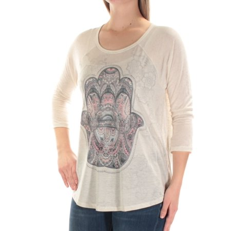 Style & Co. Women's 3/4 Sleeve Hamsa Tee (Oatmeal, M) (Jewel Styles)