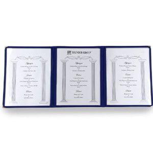 Winco Triple Fold Menu Cover  12 Inch X 9 5 Inch  Blue  Set Of 6