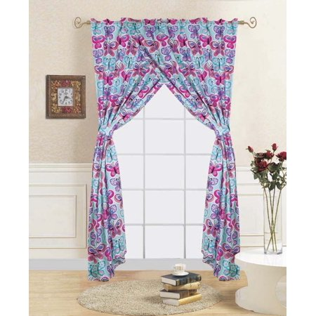 4-PC BUTTERFLY BLUE Kids Bedroom Window Panel Pair, Set of Two Rod Pocket Curtains 38