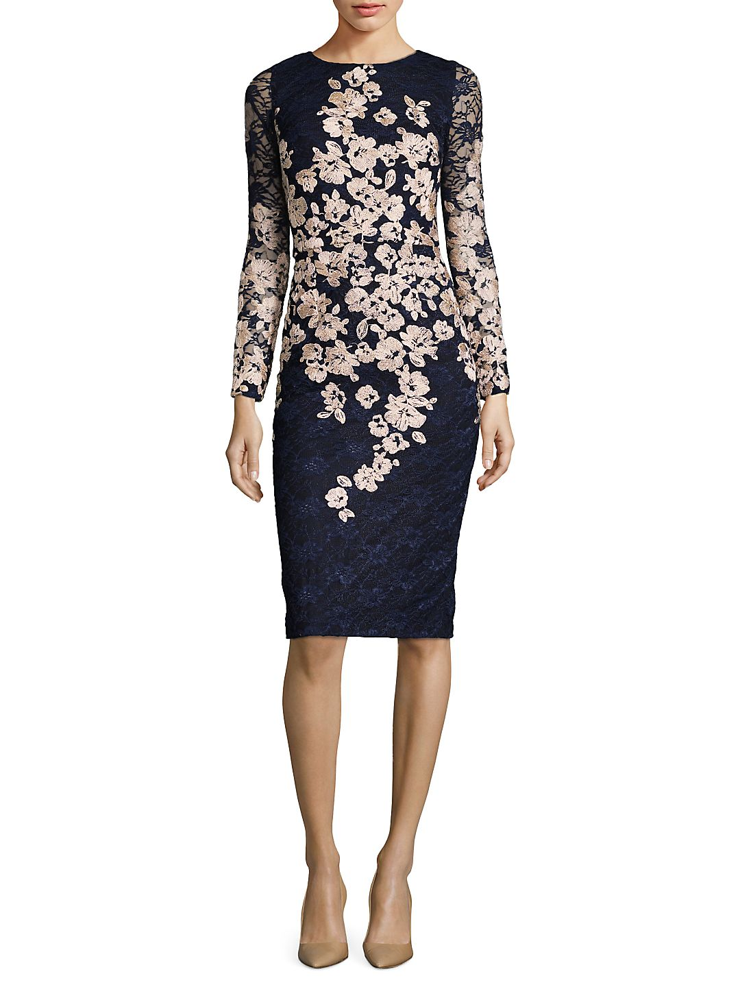Embroidered Floral Long Sleeved Dress