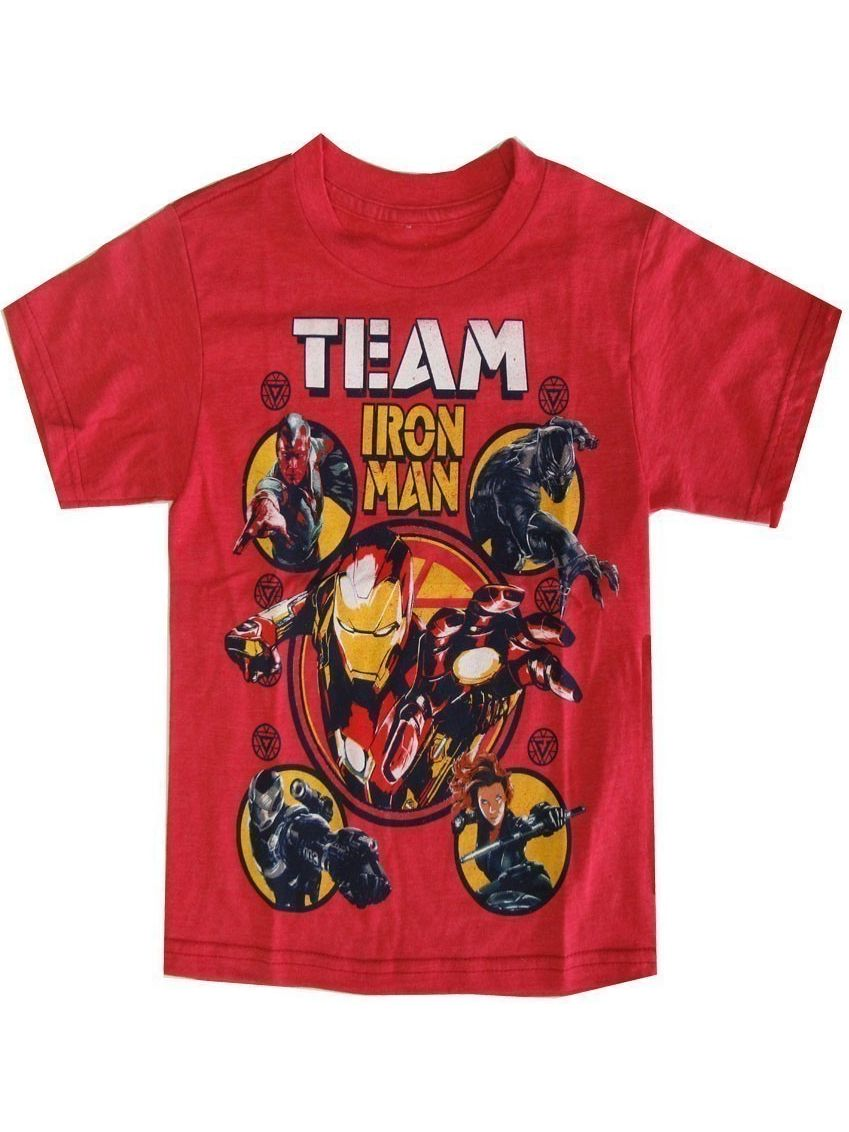 "Marvel Little Boys Red ""Team Iron Man"" Graphic Print Short Sleeved Tee"