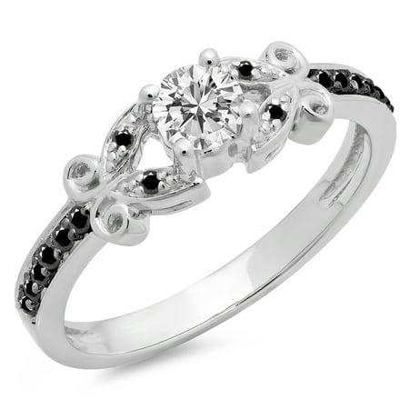 Dazzlingrock Collection 0.50 Carat (Ctw) 14K Black & White Diamond Bridal Engagement Ring 1/2 CT, White Gold, Size 10
