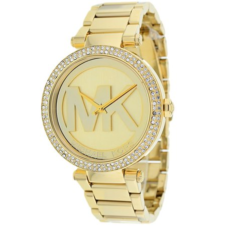 Michael Kors Parker Logo Glitz Gold-Tone Women's Watch, MK5784