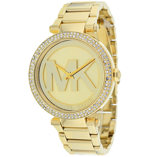 Michael Kors Parker Logo Glitz Gold-Tone Women's Watch, MK5784