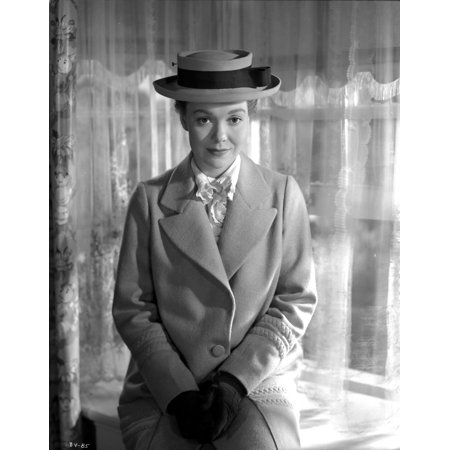Jane Wyman Portrait in White Linen Tweed Coat and White scarf with Black Velvet Gloves and Flat Hat Photo Print Black And White Tweed Coat