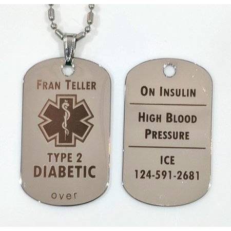Custom Engraved Diabetes Diabetic Medical Alert Tag Pendant Necklace in Silver - free personalization