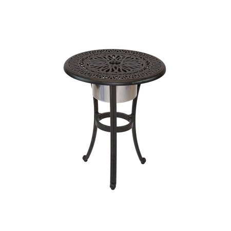 Elisabeth Cast Aluminum Patio End Table With Ice Bucket Insert