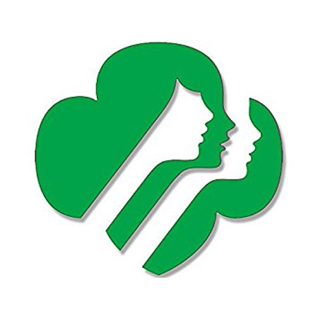 - GREEN Girl Scouts Faces Logo Shaped Sticker Decal (emblem usa scouting) 4 x 4 inch