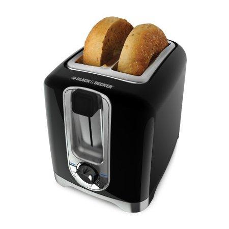 BLACK+DECKER TR1256B 2-Slice Toaster with Bagel Function, Black/Stainless Steel