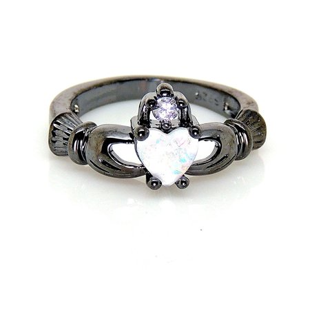 Black Claddagh Charms - Ginger Lyne Collection Darlina Black Claddagh Princess Crown Lab Created Fire Opal Ring