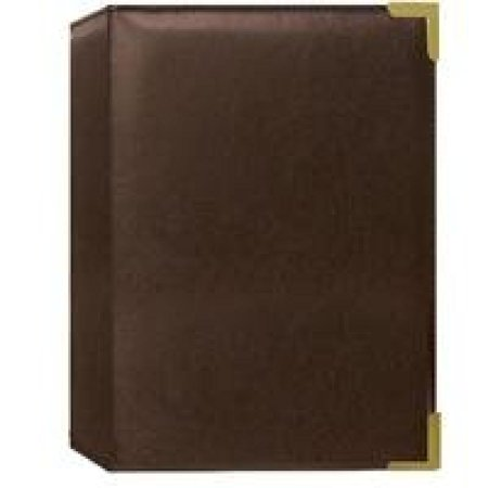 "Pioneer Mini Oxford Bound Photo Album, Solid Color Sewn Leatherette Covers with Brass Accent Corners, Holds 24 4x6"" Photos, 1 Per Page, Color: Brown."