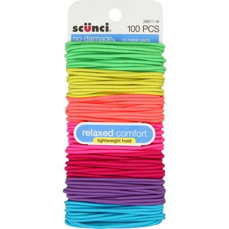 (4 Pack) Scunci No Damage Hair Ties, 100 Ct - Slinky Hair Ties