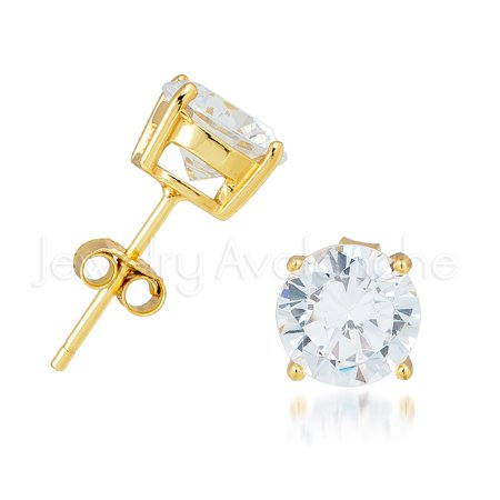 Yellow Gold Plated .925 Sterling Silver Stud Earrings - Unisex Solitaire CZ Earrings 3MM