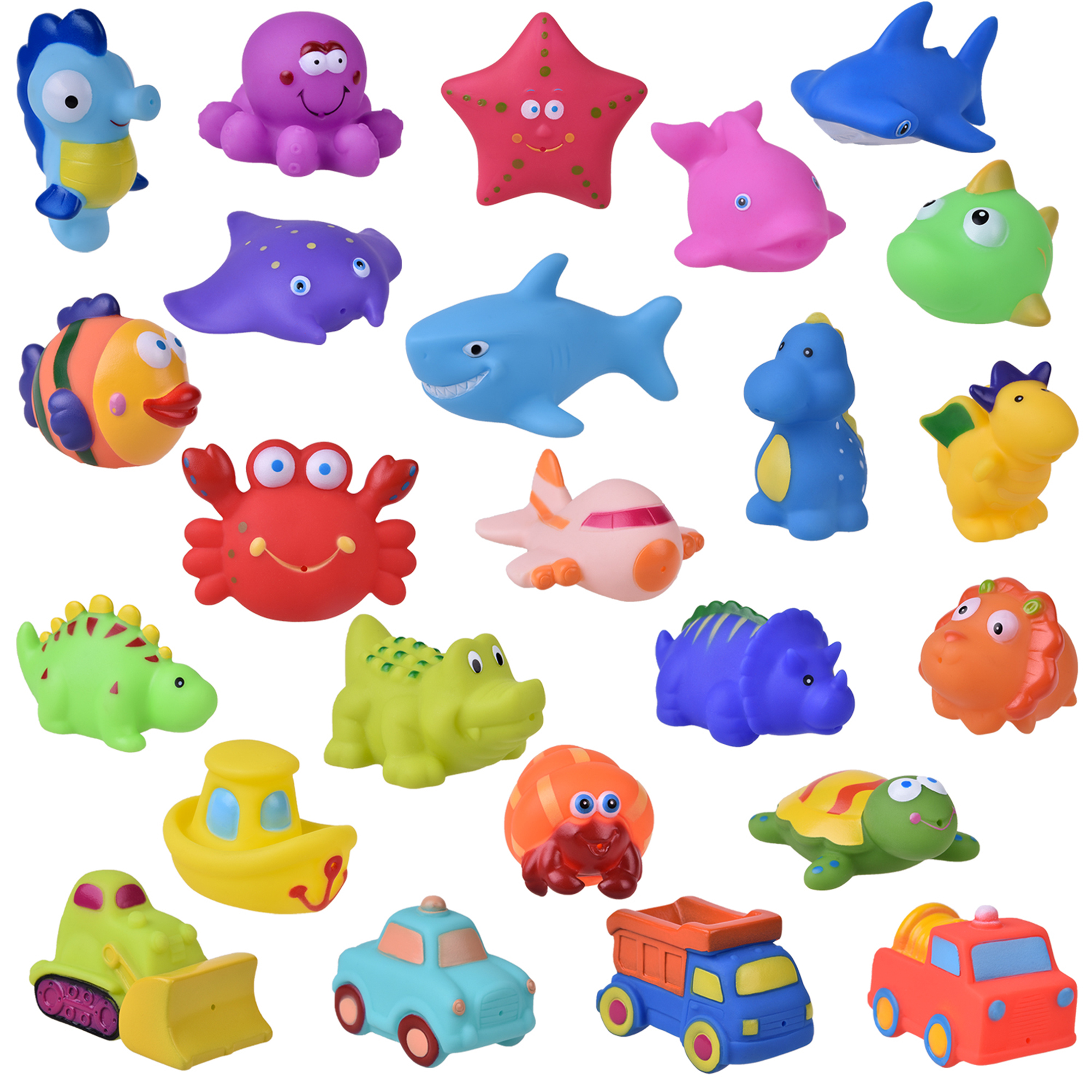 Bath Toys for Toddler, Sea Animals Squirter Toys for Kids, Car Squirter Toys for Boys, Bath Toy Organizer 24 PCs F-196