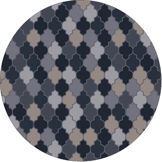 6' Gradient Crux Navy Blue and Slate Gray Hand Tufted Round Wool Area Throw Rug