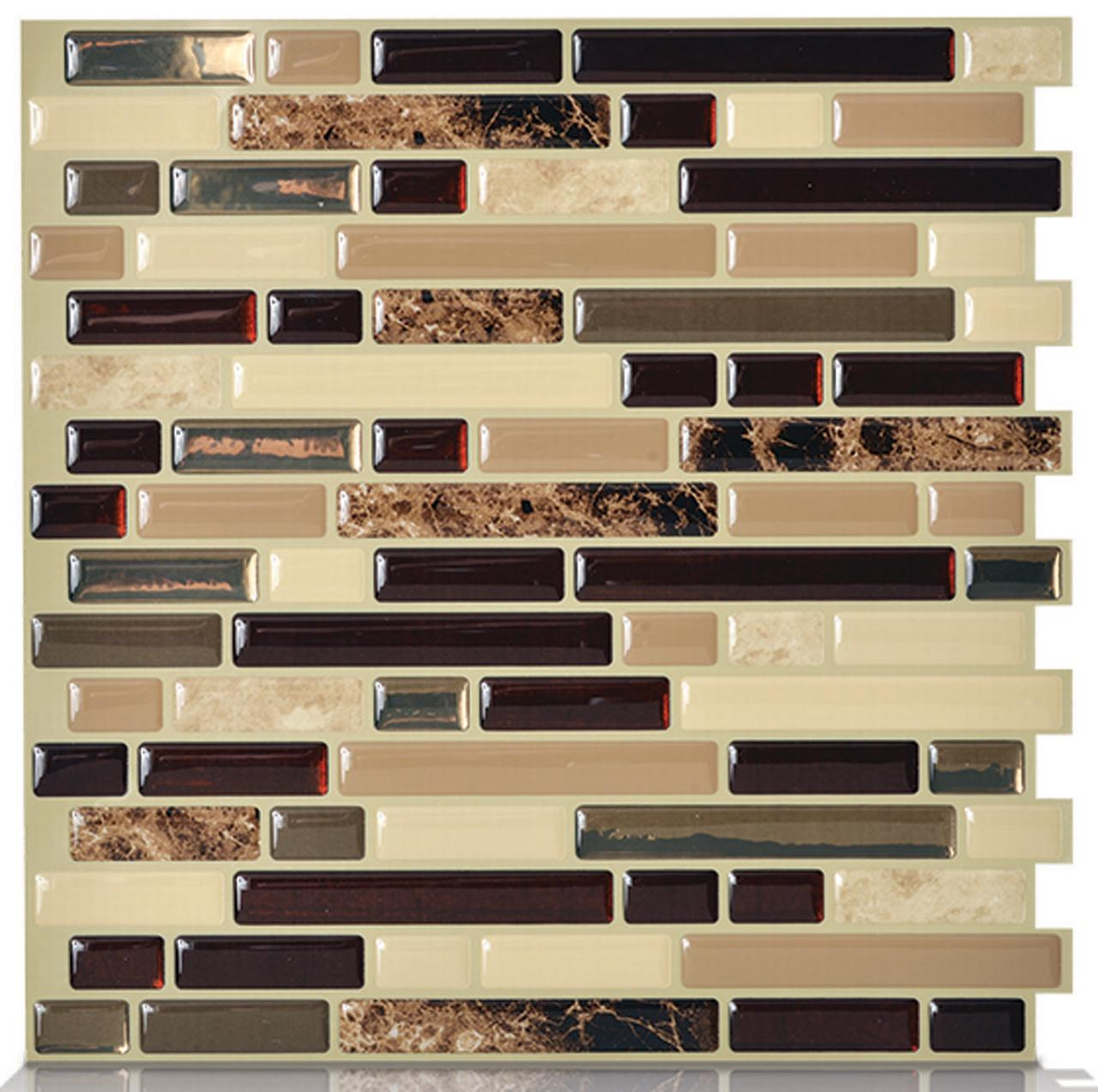 "Peel and Stick Decorative Mosaic Wall Tile 10"" x 10.125"" (Pack of 6)"