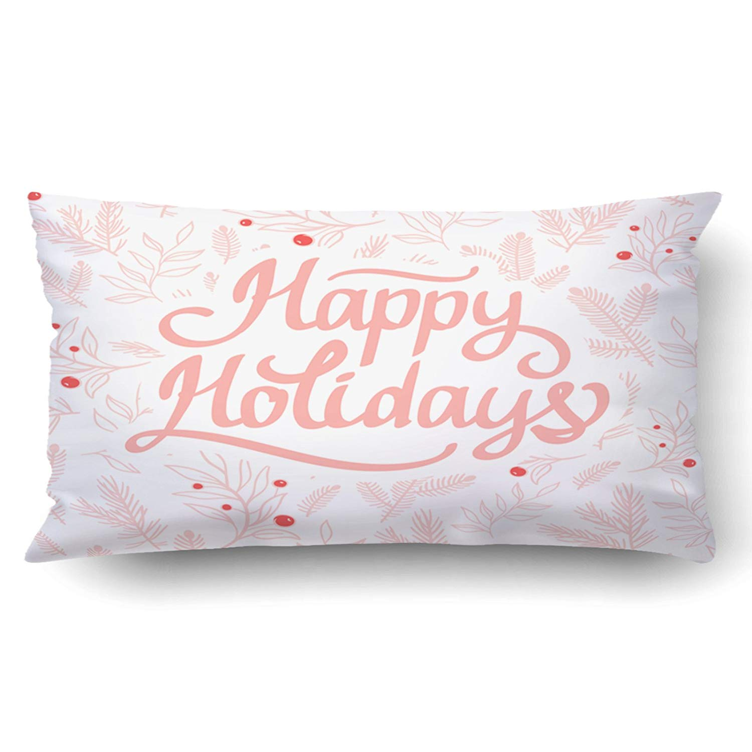 WOPOP Xmas Christmas Holiday Pattern Gentle Beautiful Rose Of Branches And Leaves Happy Holidays Pillow Case Cushion Cover Case Throw Pillow Case 20x30 inches
