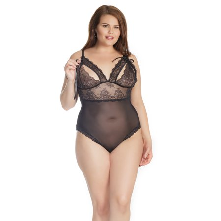 930d409594a Coquette - Coquette Plus Size Let s Play Tie-Up Crotchless Teddy -  Walmart.com