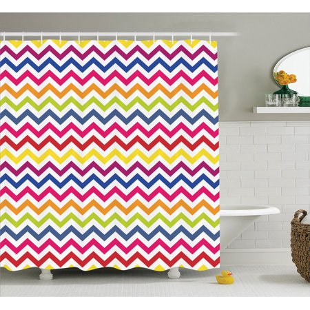 Chevron Decor Shower Curtain Set Pattern Colorful Rainbow Festive Fun Enjoyment Artistic Design