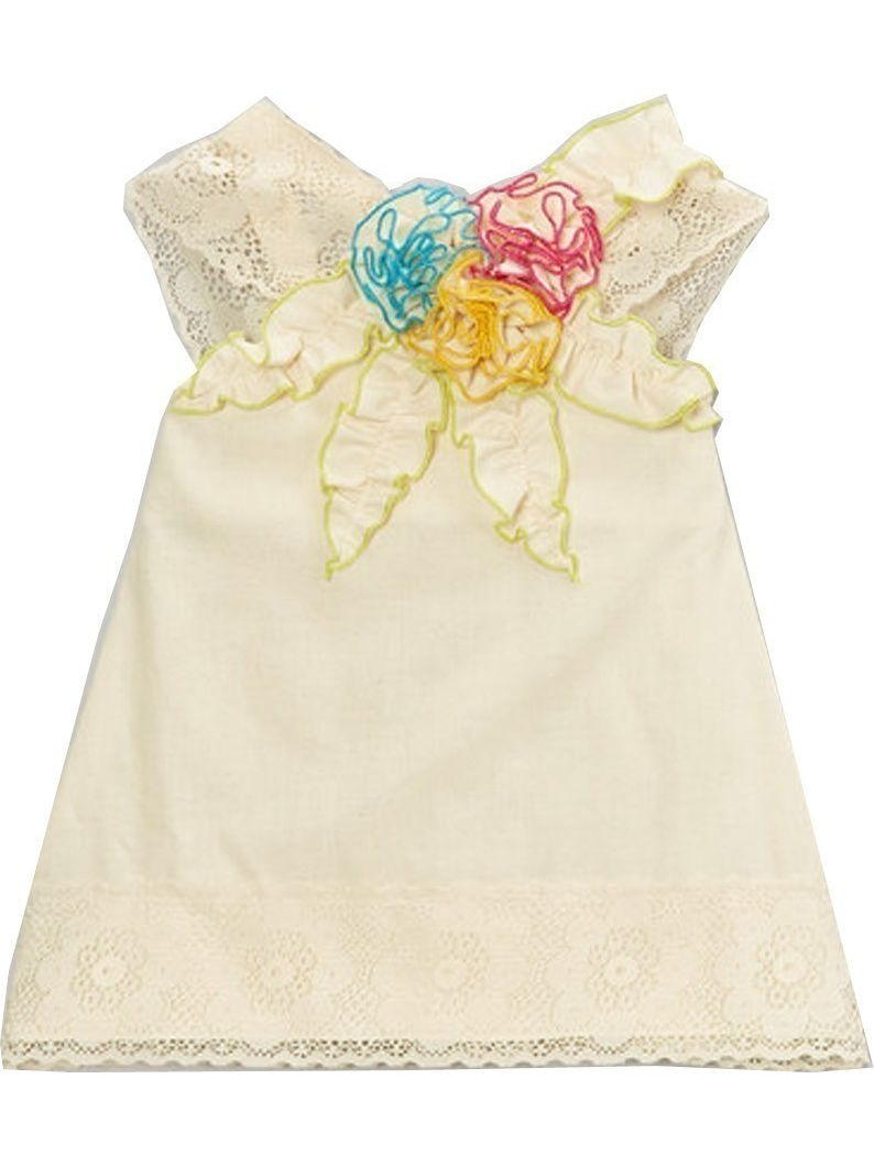 Little Girls Ivory Multi Colored Floral Accents Lace Trim Shirt 12M-6