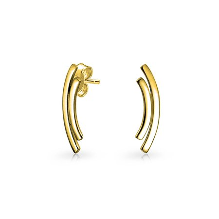 Minimalist Geometric Double Curved Bar Stud Earrings For Women For Teen 14K Gold Plated 925 Sterling Silver
