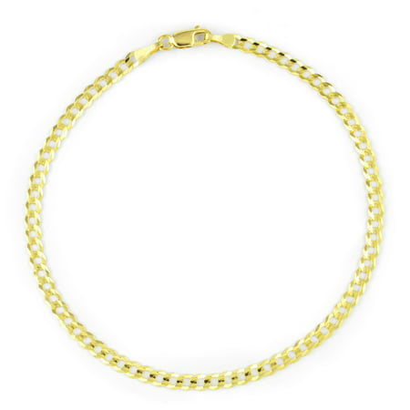 14k Yellow Gold Women Solid 2.5mm Curb Cuban Chain Bracelet or Anklet