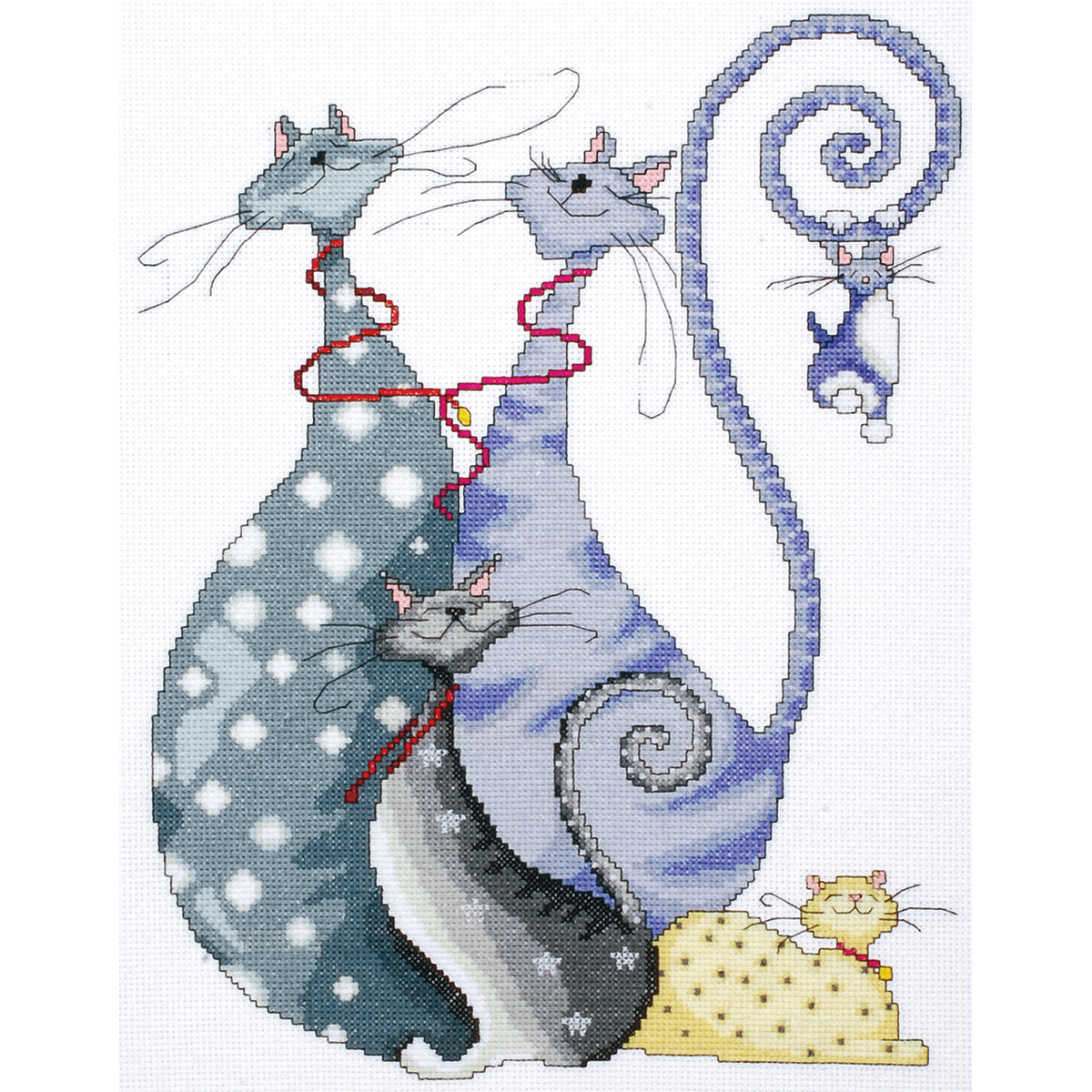 "Tobin Cat Pack Counted Cross Stitch Kit, 10"" x 14"", 14 Count"
