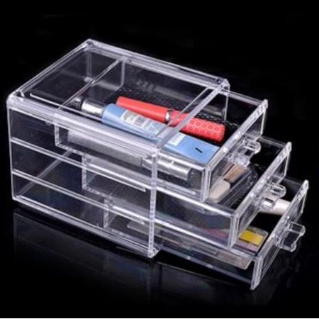 Crystal Clear Cosmetics - Cosmetic Box Three Drawer Clear Acrylic Crystal Cosmetic Organizer Makeup Case tube container Holder Storage Box No.9 Free Shipping