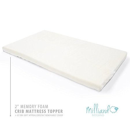 Milliard 2-Inch Ventilated Memory Foam Crib/Toddler Bed Mattress Topper with Removable Waterproof 65-Percent Cotton Non-Slip Cover - 51.5