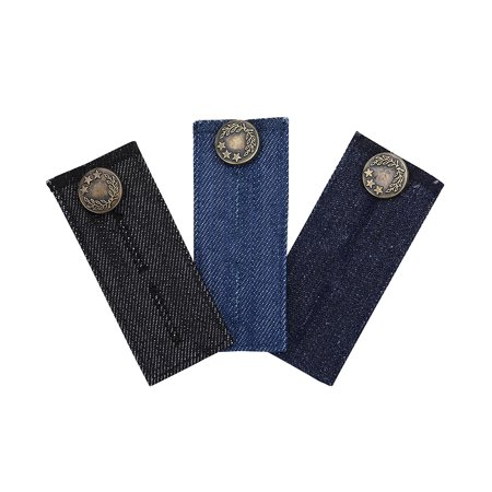 3 PCS Denim Waist Extender with Metal Button, Extenders for Jeans, Jeans Button Extender for Men and Women