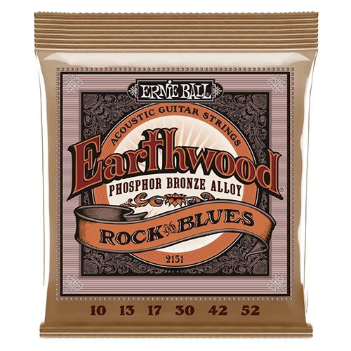 Ernie Ball 2151 Earthwood Acoustic Phosphor Bronze Guitar Strings, Rock and Blues, 10-52 by Ernie Ball