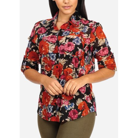 Womens Juniors Black Floral Print Button Roll Up Sleeve Stylish Top W Front Pocket