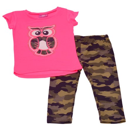 Baby Girls Neon Pink Owl Detail Top Camouflage Trendy 2 Pc Pant Outfit - Neon Outfit