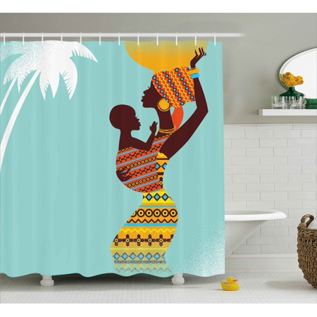 Afro Decor Shower Curtain  African Mother With Her Baby In Ethnic Clothes Retro Style Fashion Image  Fabric Bathroom Set With Hooks  69W X 70L Inches  Turquoise Merigold  By Ambesonne