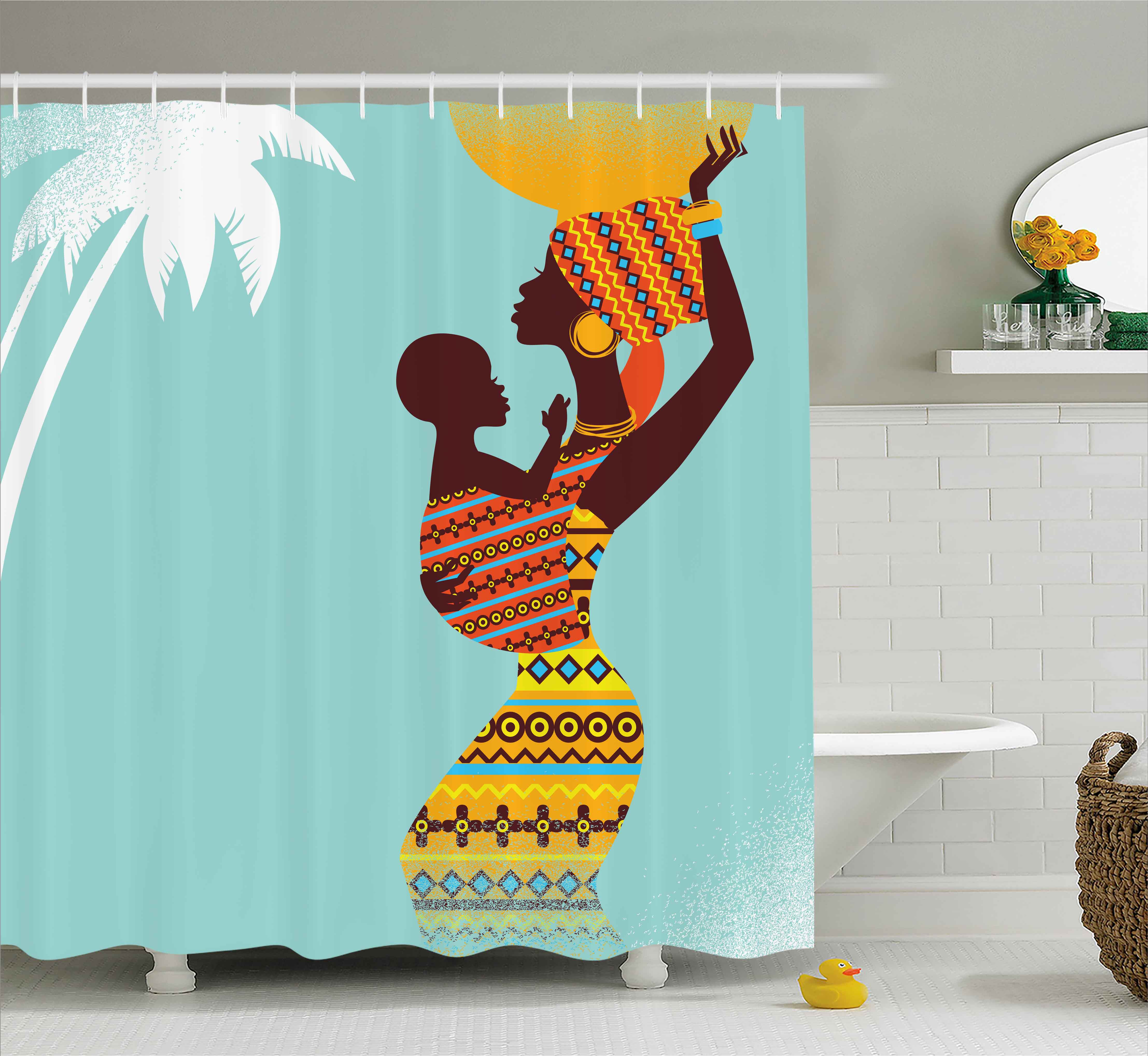 Afro Decor Shower Curtain, African Mother with Her Baby in Ethnic Clothes Retro Style Fashion Image, Fabric Bathroom Set with Hooks, 69W X 75L Inches Long, Turquoise Merigold, by Ambesonne