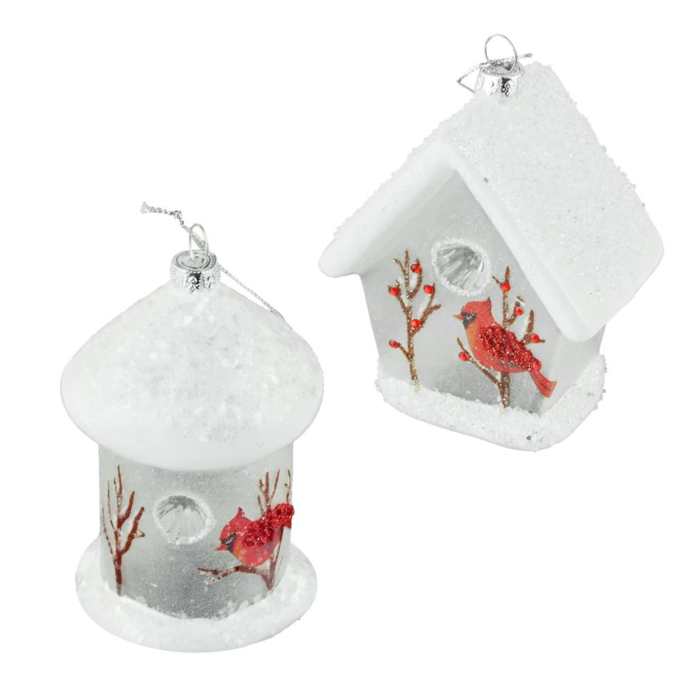 White Birdhouse Glass Ornaments, Assorted, 4-Inch, 2-Piece by