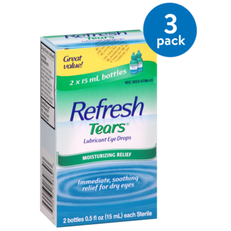 Pet Vision Eye Drops - (3 Pack) Refresh Lubricant Eye Drops Value Size Refresh Tears, 2 - .5 Oz bottles, 1 Oz.