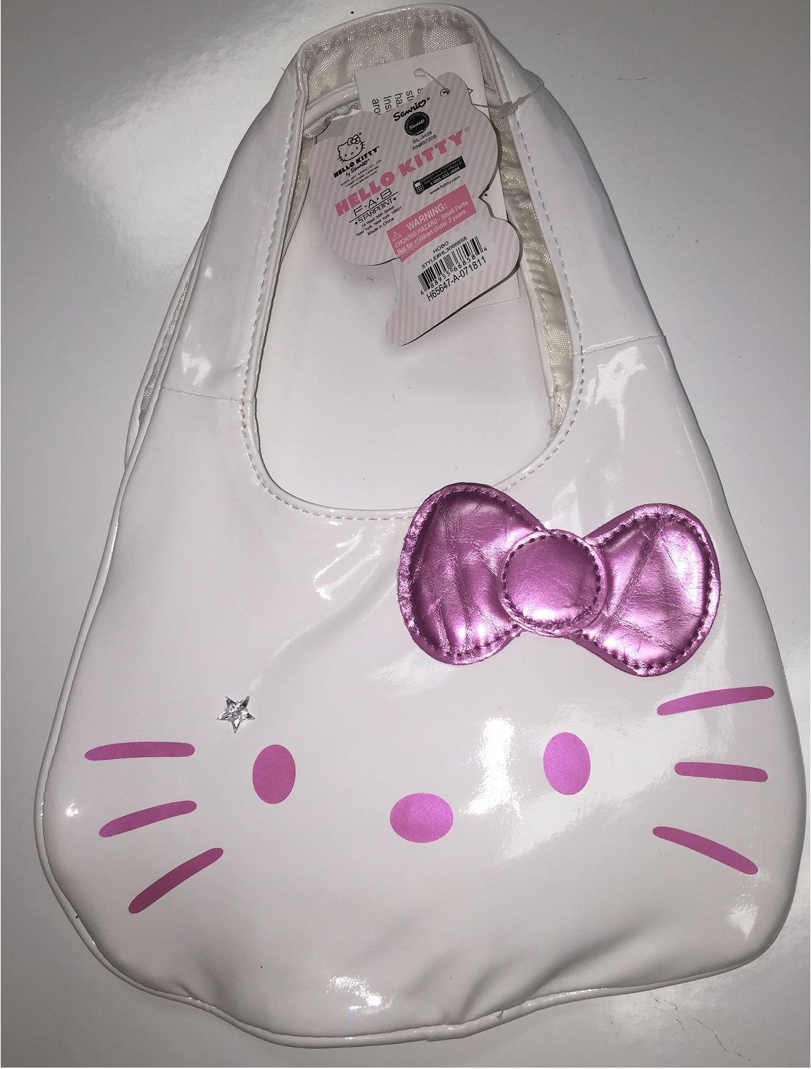 Hand Bag Hello Kitty Glitter Script White New 668584 by Ruz