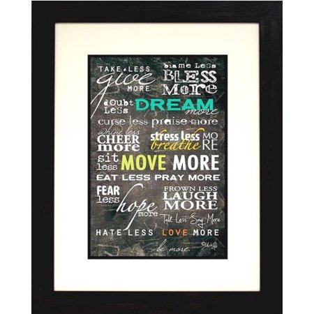 buyartforless IF EBN1045 24x18 Professionally Framed More Vs Less Marla Rae 24X18 Art Print Poster Motivational Inspirational Typography Great Art