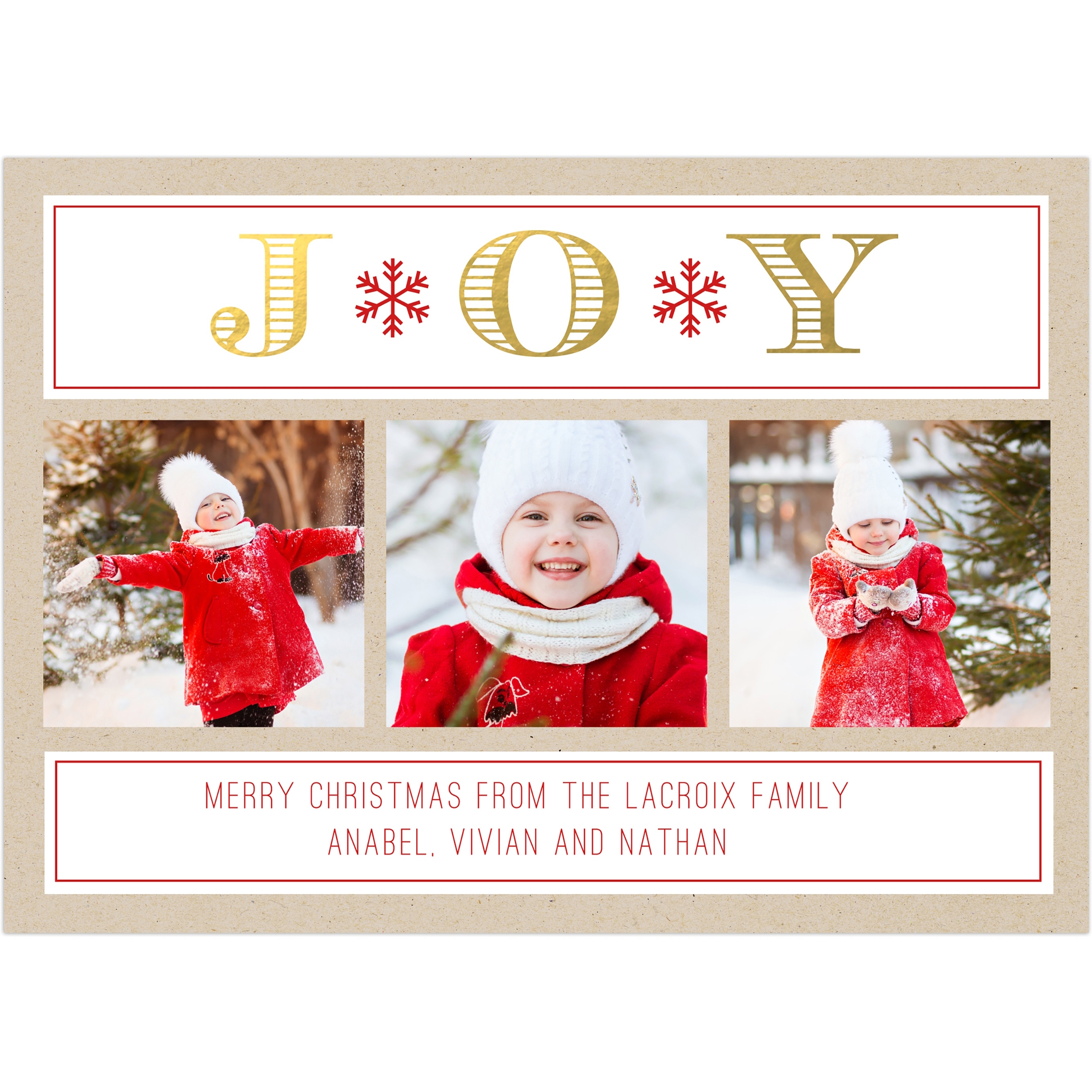 Joyful Light - 5x7 Personalized Christmas Card