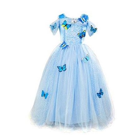70f479ba5a Per - Per Girls  Princess Dress Fairy Style Butterfly Decor Girl Wedding  Bubble Dress Halloween Christmas Party Ball Costumes(150) - Walmart.com