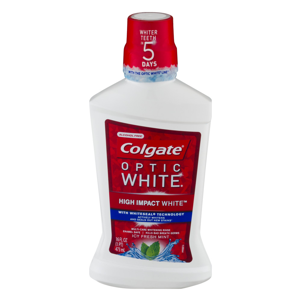 Colgate Optic White Multi-Care Whitening Rinse Icy Fresh Mint, 16.0 FL OZ