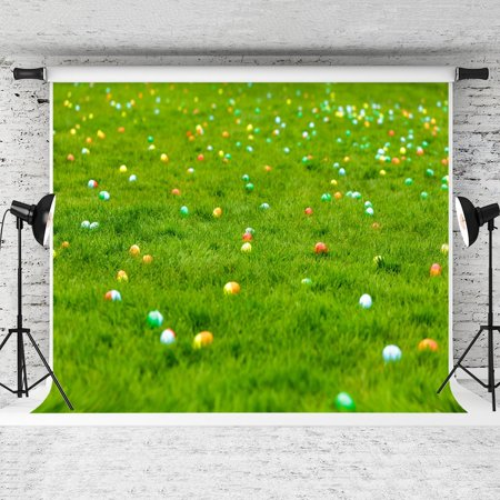 HelloDecor Polyster 7x5ft Spring Meadow Photography Backdrop Easter Eggs Hidden in Grass Background for Children Photo Studio Backdrops ()