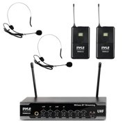 Pyle PDWM2122 - Home & Office UHF Microphone System - PA Public Address Mic System with (2) Beltpacks, (2) Headset Mics, Desktop USB Powered