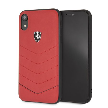 iPhone XR Ferrari Cell Phone Case, Heritage Collection Genuine Quilted Leather Black Hard Case with Easily Accessible Ports and Metallic Painting (Ferrari Case)