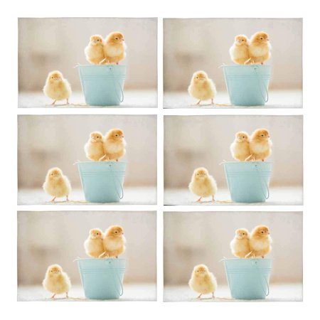 MKHERT Cute Baby Chicks Yellow Little Chicken Placemats Table Mats for Dining Room Kitchen Table Decoration 12x18 inch,Set of 6